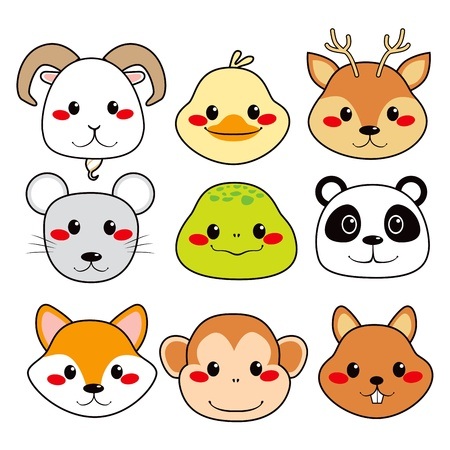 squirrel monkey: Collection of nine funny and cute happy animal faces smiling