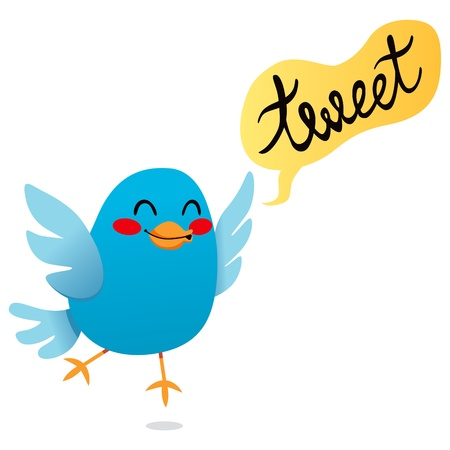 tweeting: Cute little blue bird tweet cartoon illustration