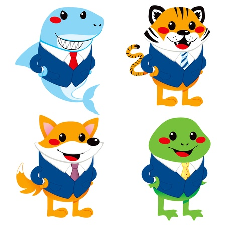 Four cute animal cartoon characters wearing suit like a businessman Vector