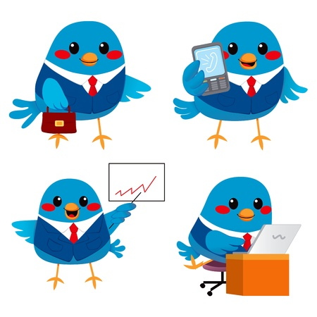 Cute little blue bird businessman doing many tasks Vector