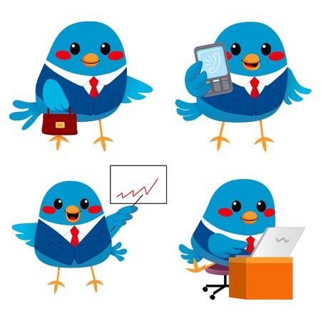 blue bird: Cute little blue bird businessman doing many tasks
