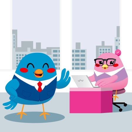 dictating: Dictar Bird gerente al secretario tomar notas con el ordenador port�til Vectores