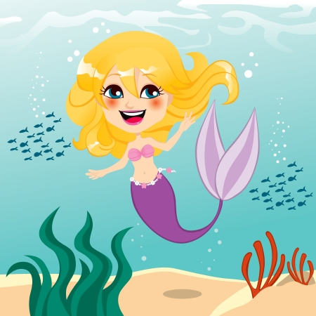 blonde teenage girl: Beautiful little mermaid girl happy swimming underwater Illustration
