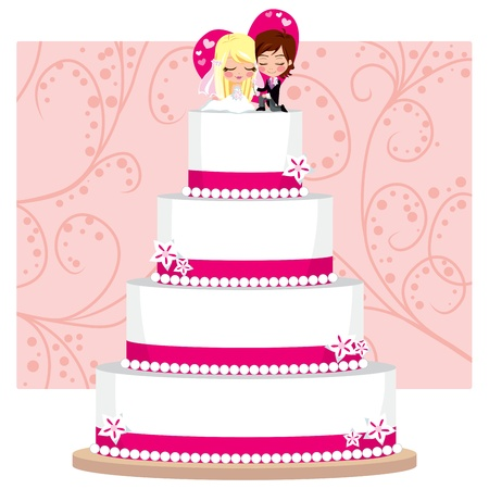 pink cake: Strawberry Wedding Cake with flowers and groom and bride figure on top Illustration