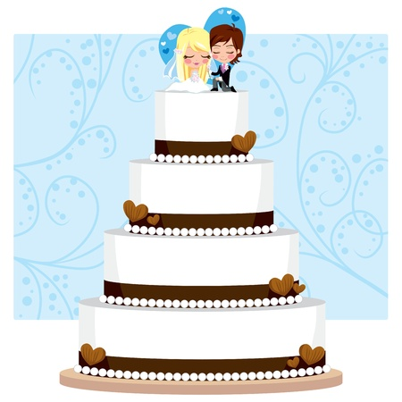 Chocolate Wedding Cake with hearts and groom and bride figure on top Vector