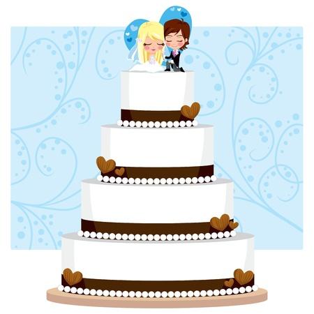 Pastel de chocolate de la boda con el corazón y la figura del novio y la novia en la parte superior Ilustración de vector