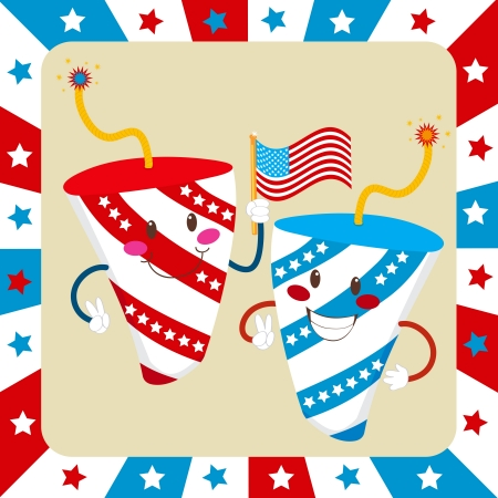 Two cute fireworks celebrating independence day waving an American flag Stock Vector - 14380766