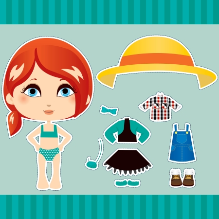 Cute red haired fashion paper doll girl clothes collection set Vector