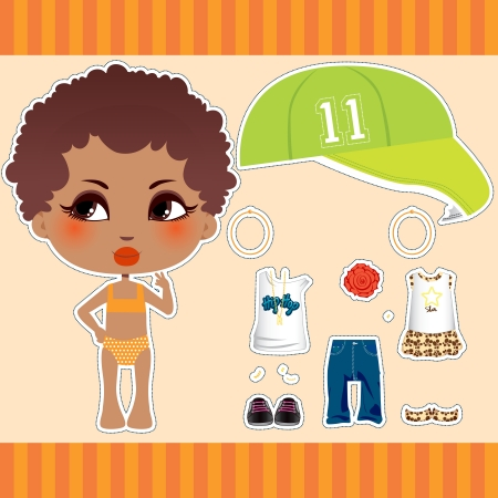 Cute Afro American fashion paper doll girl clothes collection set Vector