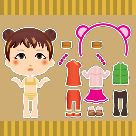 Cute Chinese fashion paper doll girl clothes collection set Vector