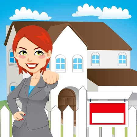 hand holding house: Real estate woman holding the key of a new house