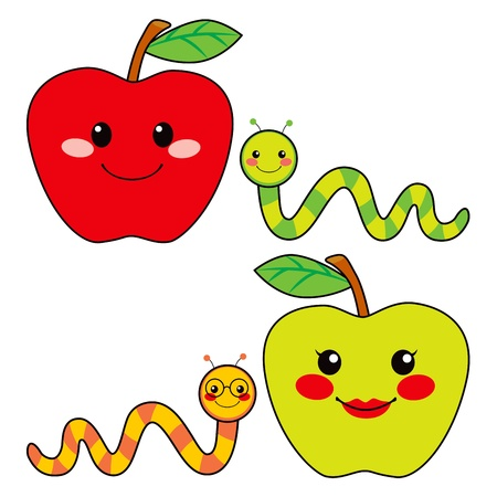 insect on leaf: Sweet green and red apples with cute worm friends smiling Illustration
