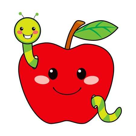 bites: Cute green worm happy in love with sweet red apple