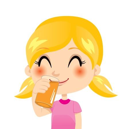orange juice glass: Pretty little bionda ragazza bere succo d'arancia Vettoriali