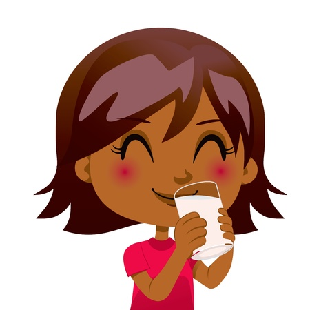 Cute black girl drinking a glass of nutritious milk Stock Vector - 14576744