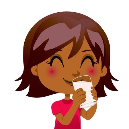 tomando leche: Linda chica negro beber un vaso de leche nutritiva
