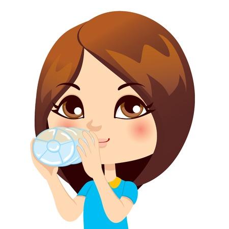 the thirst: Cute little brunette acqua potabile ragazza dalla bottiglia
