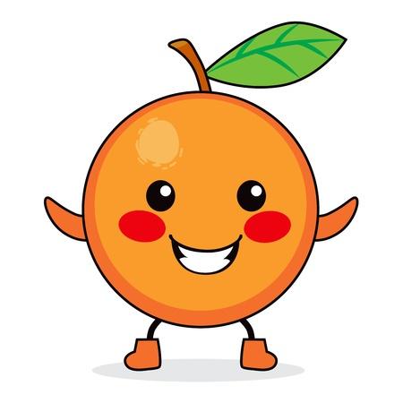 Cute orange fruit cartoon character smiling happy Stock Vector - 14576740