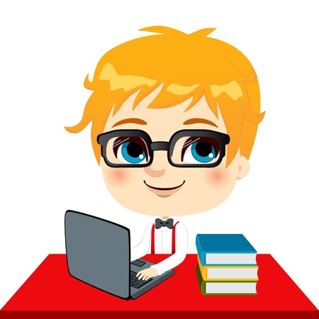 Geek kid student doing homework with laptop and books on desk Vector