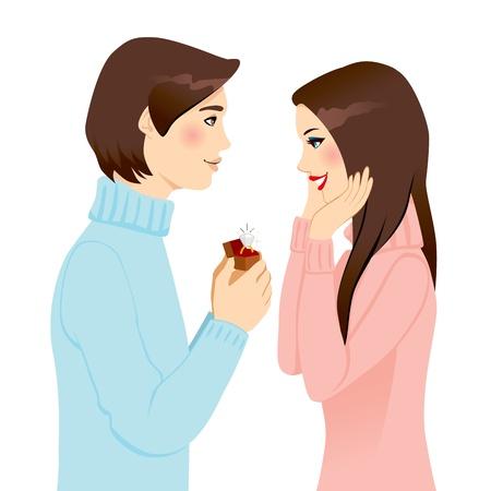 coquetear: Hombre guapo proponerle matrimonio con un anillo de compromiso de diamantes a la mujer sorprendida Vectores