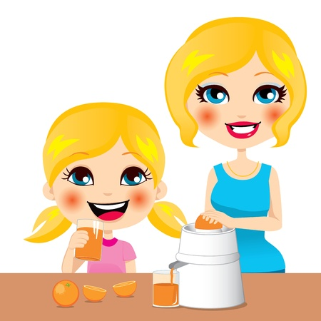 squeezing: Little girl drinking healthy orange juice squeezed by her beautiful mother