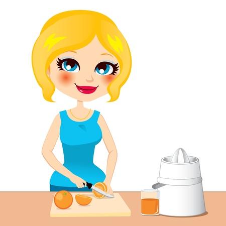 juicer: Beautiful woman preparing healthy orange juice drink Illustration