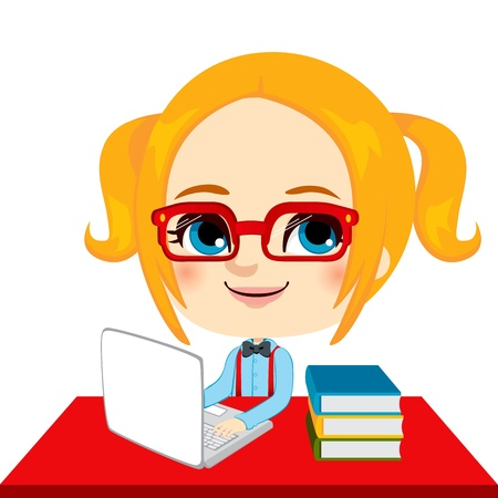 Geek girl student doing homework with laptop and books on red desk Vector