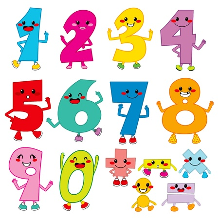 numero nueve: Conjunto de números divertidos dibujos animados y los signos matemáticos de operación