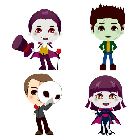 cartoon vampire: Set of four Halloween monster cartoon character illustration