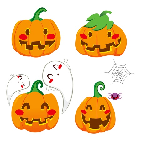 spider: Set of four funny pumpkin faces for Halloween