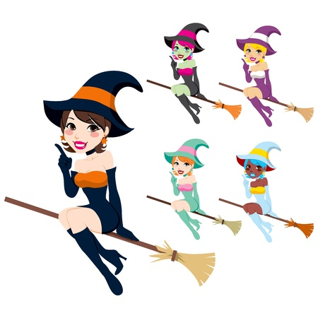 broom: Collection of beautiful women with Halloween witch costumes in different colors