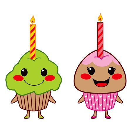 lit candles: Two cute cupcakes with one lit candle each