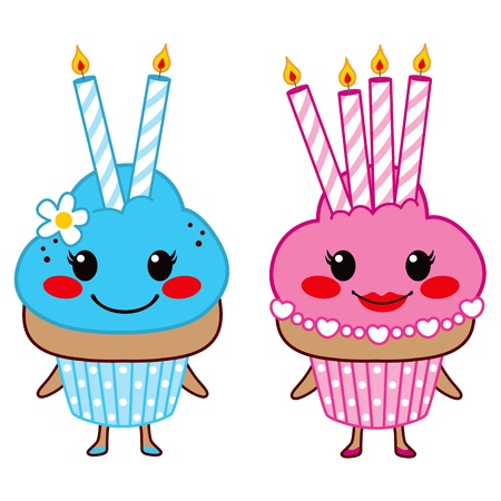 Two sweet cupcakes with two and four lit candles Vector