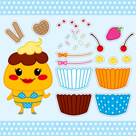 Colorful cute cupcake fashion paper doll set collection Vector