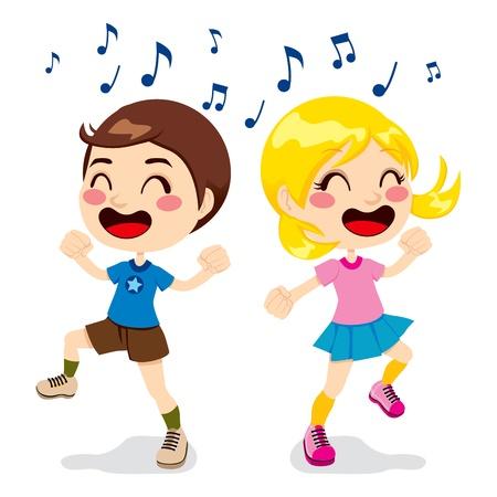 tanzen cartoon: Zwei Kinder ein Junge und ein M�dchen tanzen voller Gl�ck Illustration