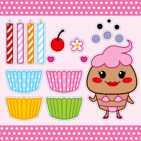 Colorful sweet cupcake fashion paper doll set collection Vector