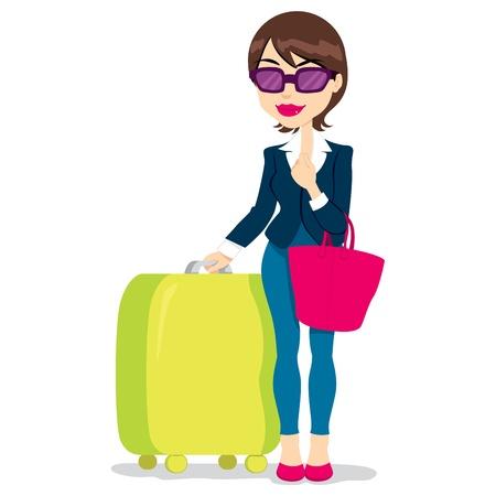 mujer con maleta: Mujer con gafas de sol de la celebración de equipaje y bolso listo para el check-in