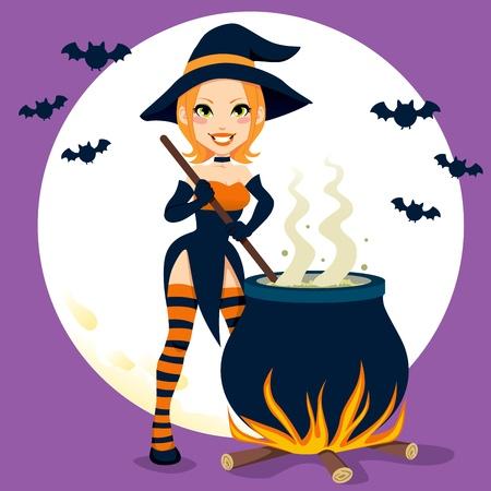 bruja: Sexy bruja de Halloween pociones mágicas para cocinar con olla Vectores