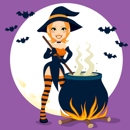 Sexy witch cooking magical Halloween potions with cauldron Vector