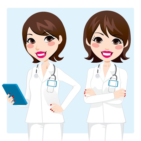 smiling doctor woman: Illustration of pretty professional doctor woman holding tablet device and with arms crossed Illustration