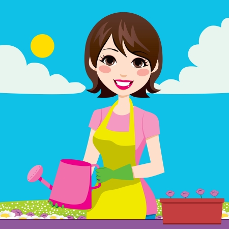 Beautiful woman doing gardening outdoors holding watering can Vector