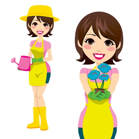 Cute woman doing gardening holding watering can and flowers Vector