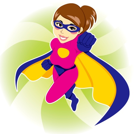 Illustration of beautiful sexy woman in superhero costume Illustration