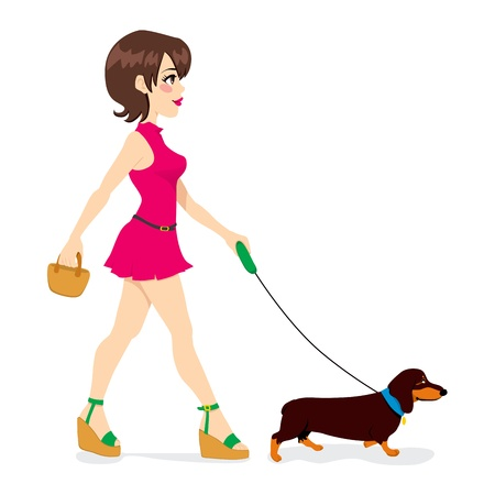 dog leashes: Beautiful sexy woman walking with cute little dachshund dog Illustration