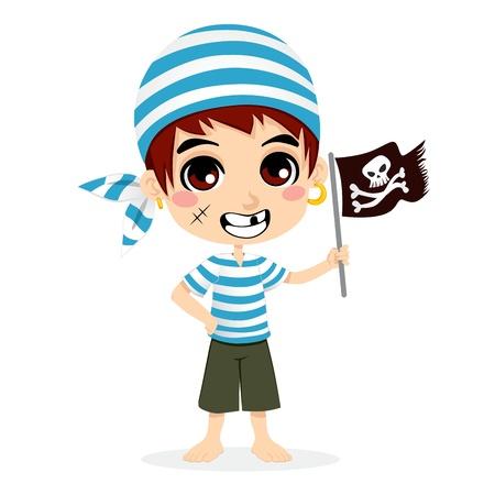 Niño pequeño en traje de marinero pirata cráneo sonriente sosteniendo la bandera pirata y bandera