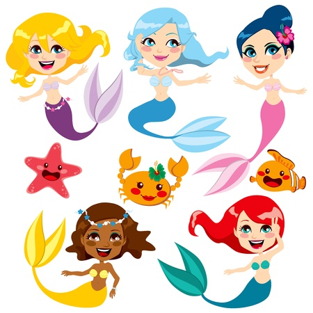 mythological character: Collection of cute colorful mermaids and sea friends Illustration
