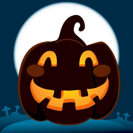 Scary smiling pumpkin in dark cemetery on full moon night of Halloween Stock Vector - 14971729