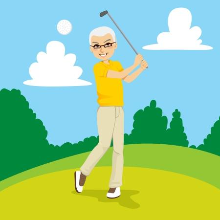 jubilados: Hombre golfista senior golpear la pelota de golf en curso