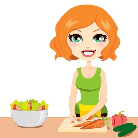 hausmannskost: Ziemlich rothaarige Frau bereitet gesunde nahrhafte Salat Schneiden von Gem�se