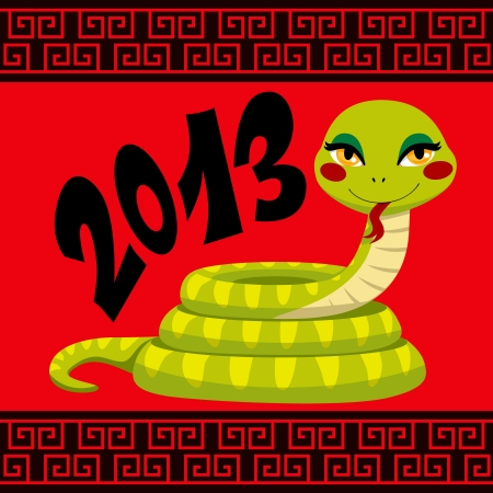 Cute Snake cartoon illustration celebrating Chinese New Year Vector